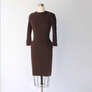 Oscar de la Renta Wool Crepe Sheath Dress